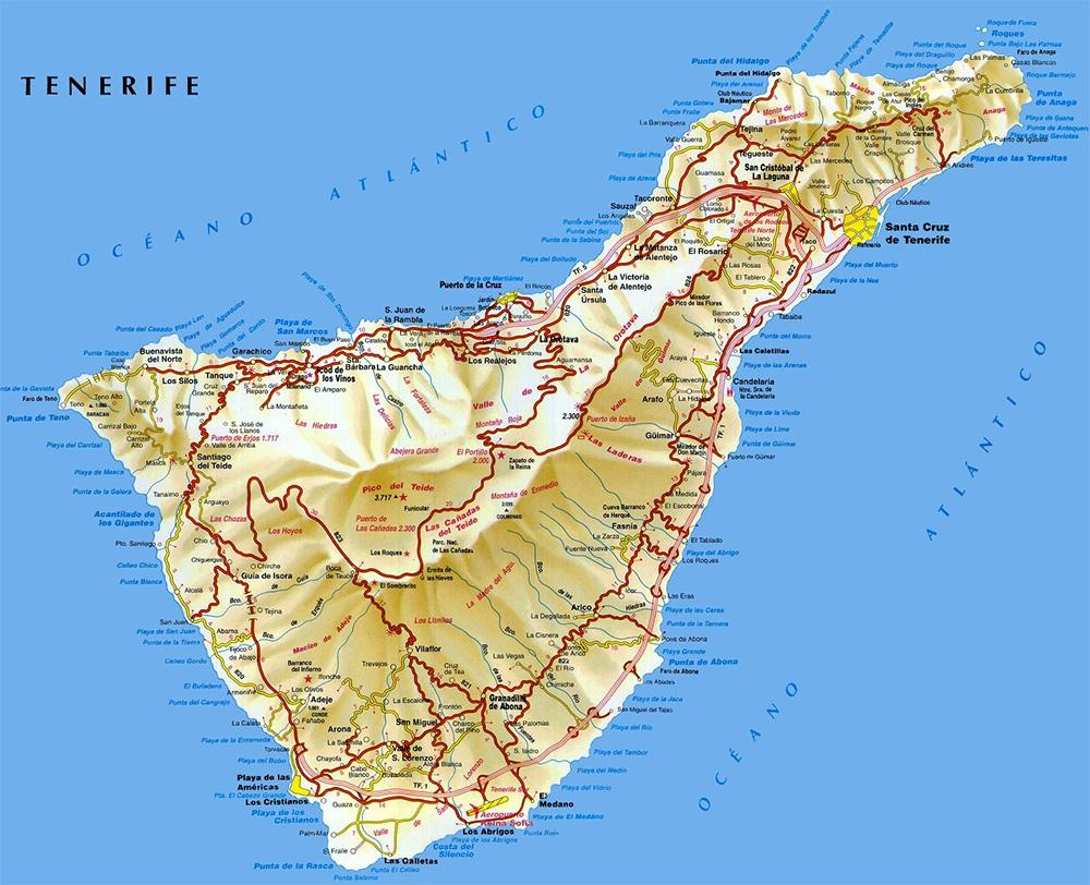 Большая карта Тенерифе